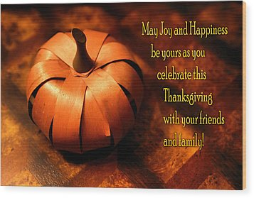 Pumpkin Thanksgiving Card Wood Print