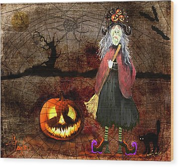 Pumpkinella The Magical Good Witch And Her Magical Cat Wood Print by Colleen Taylor