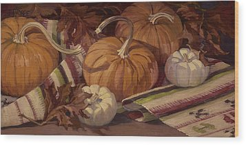 Pumpkins And Leaves Wood Print by Jane Thorpe