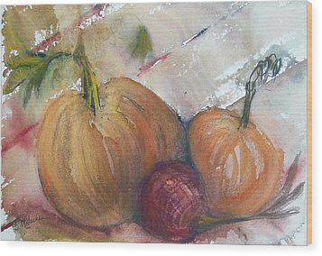 Pumpkins And Onion Wood Print by Barbara McGeachen