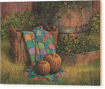 Pumpkins And Patches Wood Print by Michael Humphries