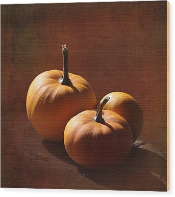 Pumpkins Wood Print by Angie Vogel