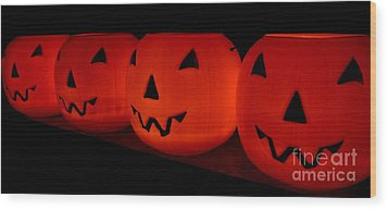 Pumpkins Lined Up Wood Print by Kerri Mortenson