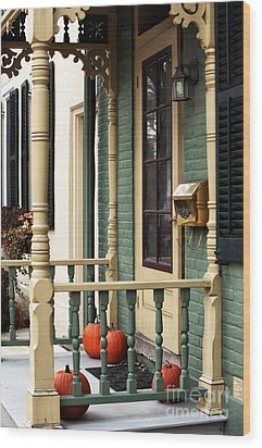 Pumpkins On The Porch Wood Print by John Rizzuto