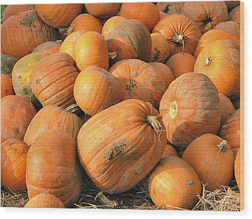 Wood Print featuring the digital art Pumpkins by Ron Harpham