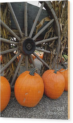 Pumpkins With Old Wagon Wood Print by Amy Cicconi