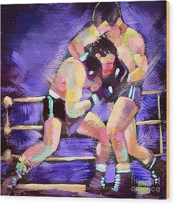 Wood Print featuring the painting Punch Out by Robert Phelps