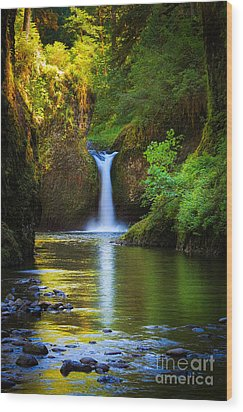 Punchbowl Falls Wood Print by Inge Johnsson