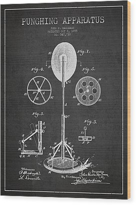 Punching Apparatus Patent Drawing From1895 Wood Print by Aged Pixel