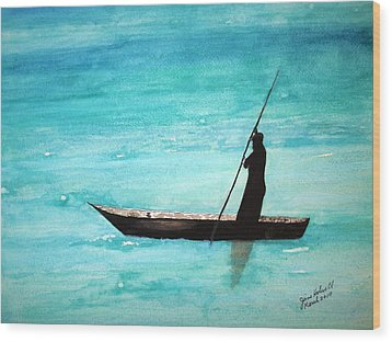 Punt Zanzibar Boat Wood Print by June Holwell