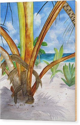 Punta Cana Beach Palm Wood Print