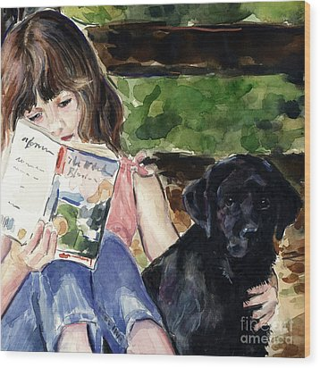 Pup And Paperback Wood Print by Molly Poole