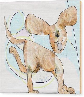 Wood Print featuring the digital art Pup by Gabrielle Schertz