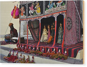 Puppet Show City Palace Jaipur India Wood Print by Diane Lent