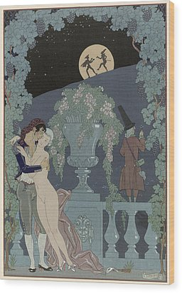 Puppets Wood Print by Georges Barbier