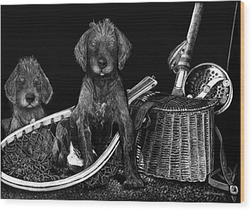 Puppies Are Ready To Go Fish Wood Print by Anderson R Moore