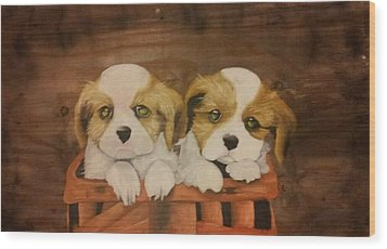 Puppies In A Basket Wood Print by Terrence Lewis