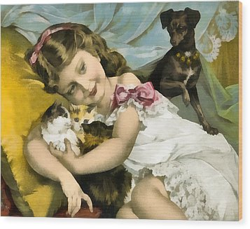 Puppies Kittens And Baby Girl Wood Print by Vintage Trading Cards