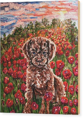 Puppy And Poppies Wood Print