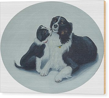 Wood Print featuring the painting Puppy Kisses by Fran Brooks