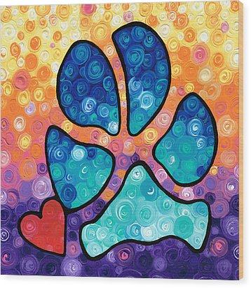 Puppy Love - Colorful Dog Paw Art By Sharon Cummings Wood Print by Sharon Cummings