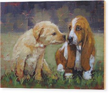 Puppy Love Wood Print by Laura Lee Zanghetti