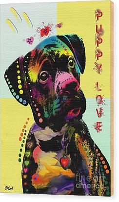 Puppy Love Wood Print by Mark Ashkenazi