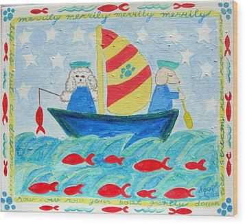 Puppy Sailors Wood Print by Diane Pape
