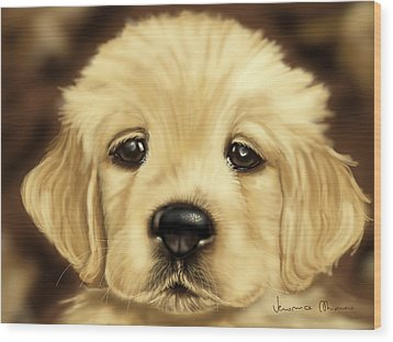 Puppy Wood Print by Veronica Minozzi