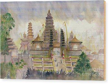 Pura Besakih Bali Wood Print by Melly Terpening