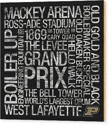 Purdue College Colors Subway Art Wood Print by Replay Photos