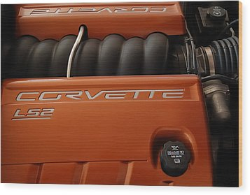 Pure American Racing - Corvette Engine The Ls-2  Wood Print by Steven Milner