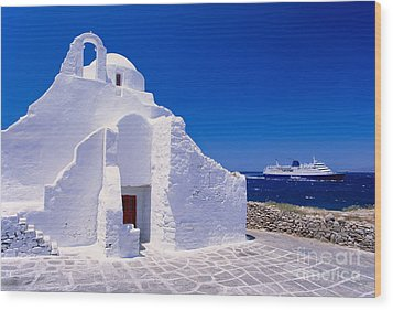 Pure White Church Wood Print by Aiolos Greek Collections