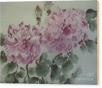 Wood Print featuring the painting Purle Flower427012-10 by Dongling Sun