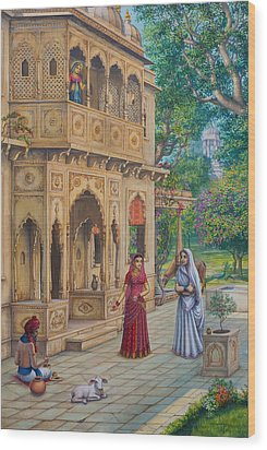 Purnamasi In House Of Kirtida Wood Print by Vrindavan Das