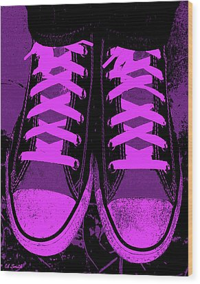 Purpink Wood Print by Ed Smith