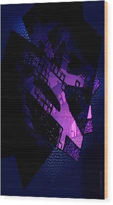 Purple Abstract Geometric Wood Print by Mario Perez