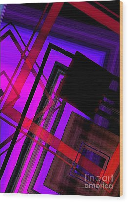 Purple And Red Art Wood Print by Mario Perez