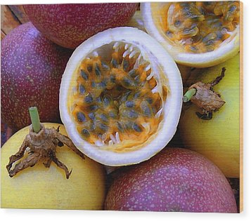 Purple And Yellow Passion Fruit Wood Print by James Temple
