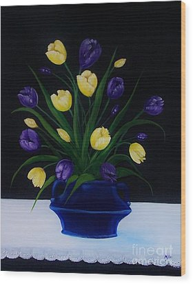 Purple And Yellow Tulips Wood Print by Peggy Miller