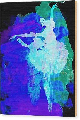 Purple Ballerina Watercolor Wood Print by Naxart Studio