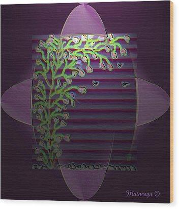 Purple Blind Wood Print by Ines Garay-Colomba
