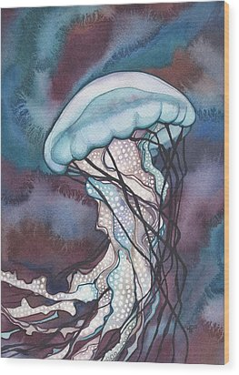 Purple Bold Jellyfish Wood Print by Tamara Phillips