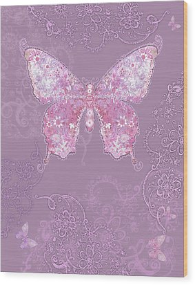 Purple Butterfly Floral Wood Print by Alixandra Mullins