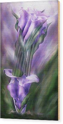 Purple Callas In Calla Vase Wood Print by Carol Cavalaris