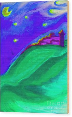 Wood Print featuring the painting Purple Castle By Jrr by First Star Art