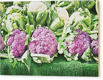 Purple Cauliflower Wood Print by Tom Gowanlock