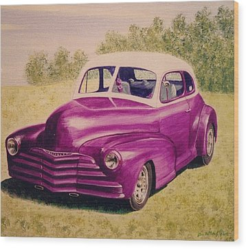 Purple Chevrolet Wood Print