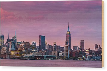 Wood Print featuring the photograph Purple City by Mihai Andritoiu