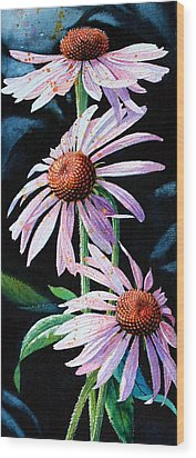 Purple Cone Flowers 1 Wood Print by Hanne Lore Koehler
